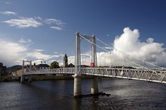 Across the ater (Sundornvic) Tags: inverness river bridge water scotland scottish bridges sky sun shine clouds blue white city built transport engineering