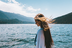 Beauty and Nature (Top KM) Tags: girl woman female one person people landscape summer outdoors outdoor outside travel canada british columbia water lake hair wind mountains blue beautiful beauty smiling blonde summertime sky sunshine cultus