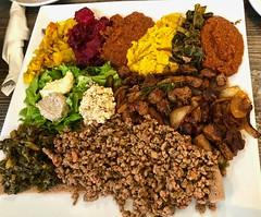 lamb tibs, beef kitfo and veggies from House of Tadu Ethiopian Kitchen (Fuzzy Traveler) Tags: tadu houseoftadu ethiopian kitchen injera lentils curry lamb beef collardgreens lambtibs beefkifto ethiopianfood missionbay sanfrancisco