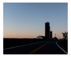 upton (Mériol Lehmann) Tags: monteregie landscape dusk farm road farmstead canada rural quebec silos topographies