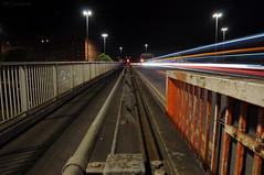 Warp Speed (HiJinKs Media...) Tags: nightphotography nightlife lighttrails lights longexposure lines railings road vehicles shadows path stairs geometry