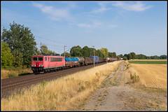 DB Cargo 155 113+UC, Peine (D), 1-8-2018 (Allard Bezoen) Tags: trein train zug lok elok loc eloc locomotief lokomotieve locomotive br baureihe 155 113 uc db deutsche bahn cargo rp railpool peine dbc unit goederentrein goederen