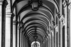 Echoes / a day to remember (Özgür Gürgey) Tags: 2018 d750 lisboa lisbon nikon portugal praçadocomércio arcade architecture repetition street symmetry ceiling lines bw 24120mm