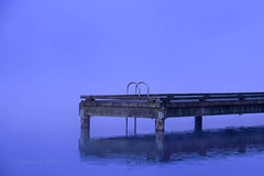 Mysterious (jeanmarie's photography) Tags: fog foggy lake incandescent jeanmarieshelton cottagelake water blue reflection dock minimalism minimalistic
