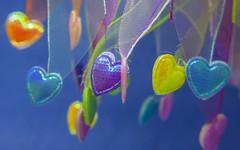 Macro Monday - Multicolor (OnkiPonki) Tags: color vividcolour pink blue purple yellow heart ribbon macromondays macro macromania macrolens hairpiece canon eos