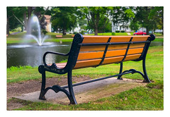 Whitman Park (Timothy Valentine) Tags: 2018 0818 large bench fountain pond park monday whitman massachusetts unitedstates us