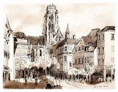 Rouen - Normandie - France (guymoll) Tags: googleearthstreetview feutre crayon pencil sketch croquis rouen normandie france cathédrale cathedral colombages