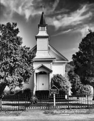 Old St Mary's church of Nicasio Valley (garofano_richard) Tags: church trees fence gate grass cross doors sign skyline bellhousing table wreath shrubs california nicasiovalley