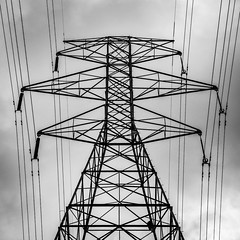 Pylon (tim.perdue) Tags: pylon tower electrical structure electric lines wires steel geometric symmetrical black white bw monochrome iphone mobile iphoneography square power electricity