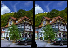 Treseburg Truss 3-D / CrossView / Stereoscopy / HDRaw (Stereotron) Tags: sachsenanhalt saxonyanhalt ostfalen harz mountains gebirge ostfalia hardt hart hercynia harzgau fachwerk halftimbered house stud work antiquated ancient medieval middleages europe germany deutschland cross eye view xview crosseye pair free sidebyside sbs kreuzblick bildpaar 3d photo image stereo spatial stereophoto stereophotography stereoscopic stereoscopy stereotron threedimensional stereoview stereophotomaker photography picture raumbild twin canon eos 550d remote control synchron kitlens 1855mm 100v10f tonemapping hdr hdri raw crossview