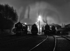 Swirling smoke in the night (photofitzp) Tags: 60007 60009 60163 60532 a1 a2 a4 atmosphere bw blackandwhite locomotives nightphotography railways uksteam barrowhillroundhouse