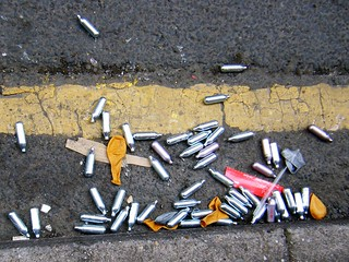 Nitrous oxide bottles = laughing gas = dangerous if used in the wrong way