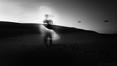 Light Saber - DSC0490-12  16x9 (cleansurf2) Tags: lightpainting dark sand dunes black white bw monotone longexposure abstract humanelement minimual minimalism twilight