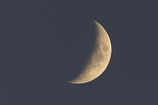 nightfall under the waxing crescent  moon
