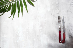 Knife and fork for eat and palm leave on the stone gray background, top view. (lyule4ik) Tags: fork knife background kitchen food table utensil menu restaurant silverware tableware napkin wood wooden silver view top copy green rosemary space cloth dining dinner dish dishware lunch old place rustic set setting vintage white cutlery breakfast brown steak cooking black isolated slate dark chilli aromatic chili cuisine fresh garlic healthy