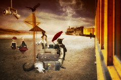All Aboard (brian_stoddart) Tags: surreal sky dusk figures composite colours desert trains transport tint railways