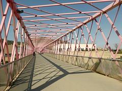 Benipila Watercourse Footbridge (neuphin) Tags: cartagena benipilawatercourse bridge footbridge pedestrian truss pink
