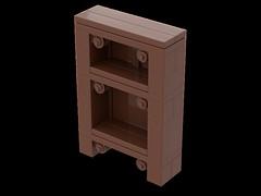 Ornate Shelf (Alec Hubbard) Tags: lego furniture shelf studio reddish brown