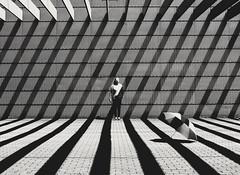 Me&stripes (jasminkämmerer) Tags: selfportrait blackandwhite blackwhite schwarzweis shadowplay shades shadows lightshadow modernarchitecture architektur stripes shapes