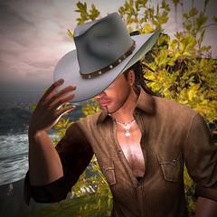 White Linen Original Mesh CB Hat (darkstoneaeon2) Tags: stonesworks secondlife avatar fashion cowboy cowgirl hat linen mesh white