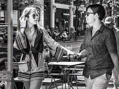 lightness of touch (judydeanclasen) Tags: happiness düsseldorf holdinghands shades sunglasses streetphotograph mono