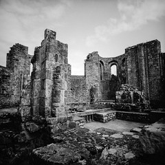 Hystory (Italian Film Photography) Tags: delta400 ilford lca120 ruins medieval stones church abbey abbazia chiesa rovine pietra cielo sky nuvole biancoenero blackandwhite film analogue pellicola 6x6 hc110 silvernitrate