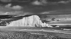 The Seven Sisters (alfwightwick) Tags: sevensisters cuckmerepark eastsussex beach sea blackandwhite chalk cliffs