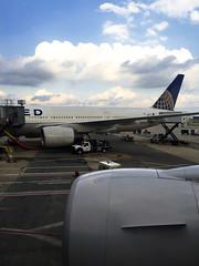 Our Sister, N216UA at Dulles (Bill in DC) Tags: france flight flights 2016 airports iad washingtondullesinternationalairport dulles airlines ua unitedairlines boeing b777222 iadcdg