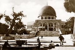 "21 May 1941 - ""Dome of The Rock Muslim Shrine"", Jerusalem, Palestine - real photo postcard (circa 1930s) (aussiejeff) Tags: ww2 wwii vintage holycity ancient historic tombeazley jeffc aussiejeff sepia restore middleeast muslim alkas fountain arch temple shrine dome"