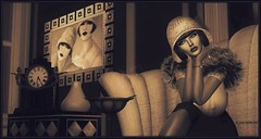 Life Imitates Art (Moxxie Kalinakova) Tags: sepia retro vintage 1920s moxxie kalinakova art deco flapper hat cloche smoking sexy classy class style stylish fur elegant brunette vamp
