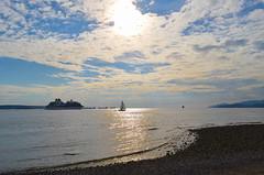 Friday Afternoon - Ambleside Beach (Neal D) Tags: bc westvancouver beach amblesidepark ship cruiseship boat sailboat sun sky