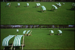 Hyde Park, London. (tonywright617) Tags: wind deckchairs hydepark london uk fuji g617 panoramic dyptich kodak 120 iso400 mediumformat film analogue
