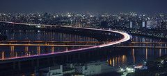 Ring of light (stevech) Tags: japan tokyo bridge highway sunset night cars light streak timelapse september yokohama