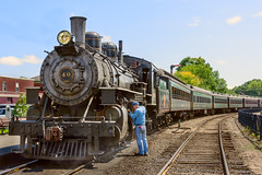 Right Side of the Tracks (Chancy Rendezvous) Tags: chancyrendezvous davelawler blurgasm steam train locomotive essex tracks rails railway railroad yard oil man worker engineer connecticut connecticutvalley pullman cars engine coal