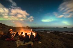 Princess Bay Aurora (Brendan Gully) Tags: aurora wellington nz new zealand night sky lights weather bonfire friends sea ocean waves friendship love etc