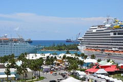 Open for Business (Little Hand Images) Tags: freeport grandbahamas cruiseships berths grassmarket stalls shopping retail souvenirs freighter