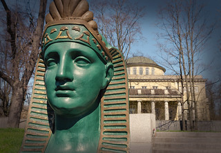 The green Sphinxes of the Kamenny Island.