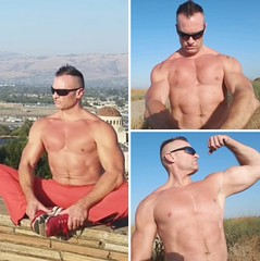 outdoors (ddman_70) Tags: shirtless pecs abs muscle sweatpants hiking stretching flexing