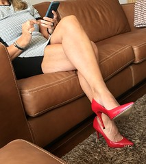 MyLeggyLady (MyLeggyLady) Tags: upskirt toe cleavage feet minidress sex hotwife milf sexy secretary teasing crossed thighs stiletto cfm pumps leather red legs heels