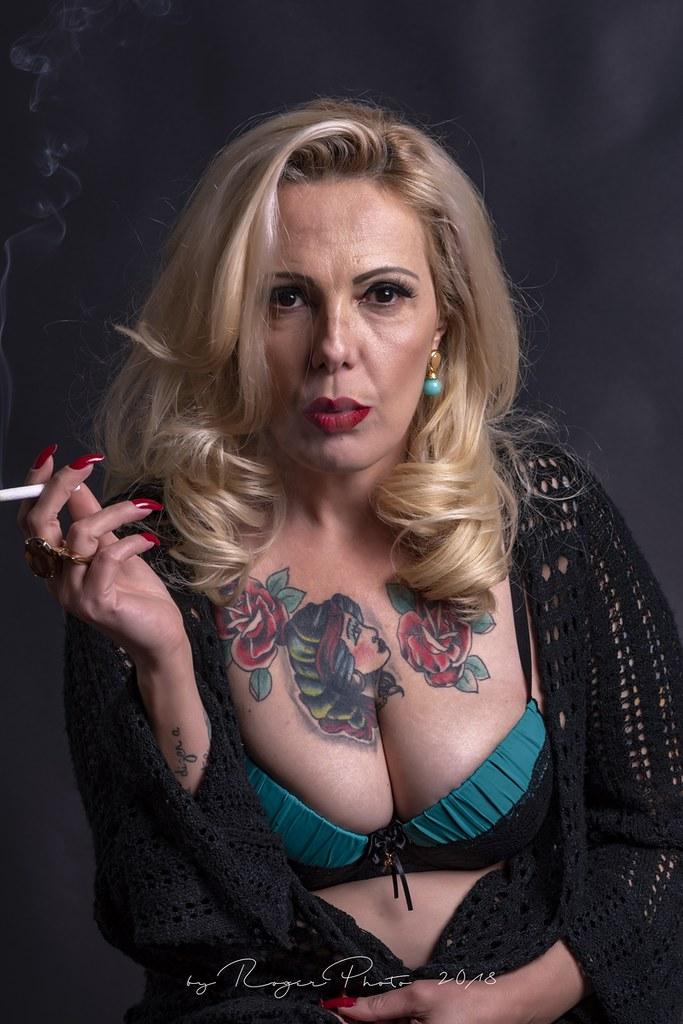 Mature blonde smoker