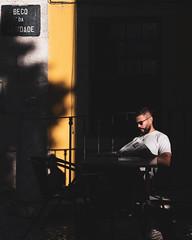 Lisbon   |   Sunlit Reader (JB_1984) Tags: man person candidportrait candid yellow light shadow sunlight evening goldenhour alfama lisbon lisboa portugal nikon d500 nikond500