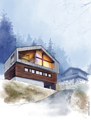 Mountain House (Serhii - photo, graphics) Tags: watercolor digitalwatercolor architecture drawing architecturaldrawing