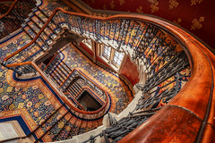 Renaissance (Rich Walker Photography) Tags: london staircase staircases architecture building buildings spiral spirals wood metal carpet history historic canon england eos80d eos