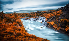 Hraunfossar Lava Falls, Iceland (S.A.W. Pixels) Tags: hraunfossar artistic art arts black white canon iceland atlantic dramatic dark darkclouds drama distinguishedlongexposure excellent exposure exciting explore explored exposed flickr greatphotographers interesting impressive landscape landscapes outdoor observing overcast picture panaromic photo syedaliwarda ocean sea sky rock beach water bay river tree mountain lavafield lava