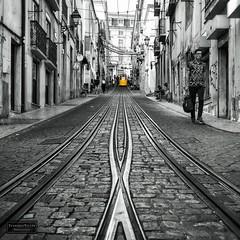 Lisbon elevator (Torbjørn Tiller) Tags: lisboa lisbon elevator tram yellow tramtracks