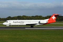 HB-JVF Fokker 100 EGCC 24-09-18 (MarkP51) Tags: hbjvf fokker 100 helveticairways 2l oaw helvetic manchester ringway airport man egcc england airliner airplane plane image markp51 nikon d7200 aviationphotography nikon70200f4vr