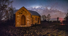 The sanctuary and its cemetery, under the stars (nightscapades) Tags: astronomy astrophotography autopanopro church crookwell galacticcore goulburn mayo milkyway night nightscapes pano panorama panos pejardam sky ststephenschurch stars stitch