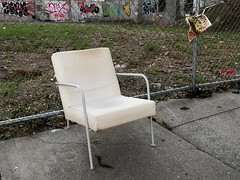 (Julia Manzerova) Tags: brooklyn chair citystreet graffiti onechair parkslope street whitechair trash discarded
