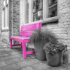 Take a seat. (Natje_9999) Tags: bank seat seating furniture pink street streets streetphotography