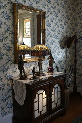 "Ms. Armor, the homeowner in 1890, used details from ""La Belle Epoque"", a French architectural style, throughout the house. She had stained-glass windows imported from Germany for the house."